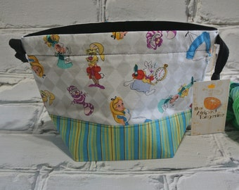 Small Drawstring Project Bag- Alice In Wonderland - Knitting- Crochet- Needlearts- Crafting- Artist