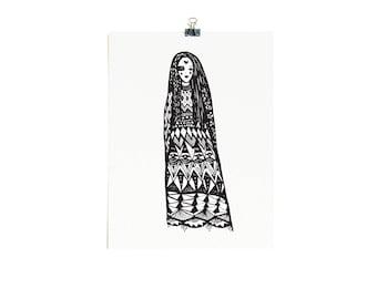 Gypsy Girl - Limited Edition A4 Screenprint