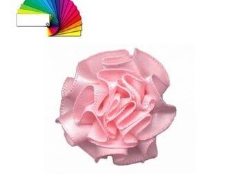 5 satin fabric flowers 35  mm