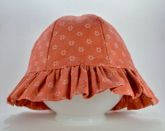 Large Frilled Cotton Bucket Baby Hat