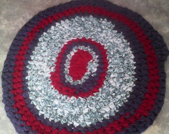 Handmade crocheted rag rug recycled fabric original country style