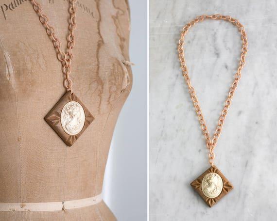 vintage 1930s celluloid necklace | 1940s bakelite cameo | wood cameo necklace | art deco cameo | large cameo pendant