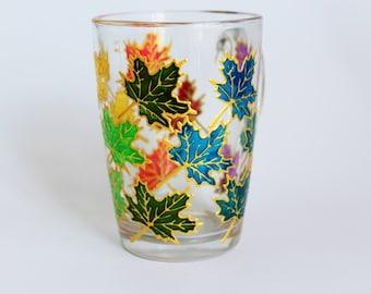 Leaves Mug Hand Painted Coffee Mug Leaves Maple Glass Cup Painted Mug Tea Cup Mug for Her Gift for Him