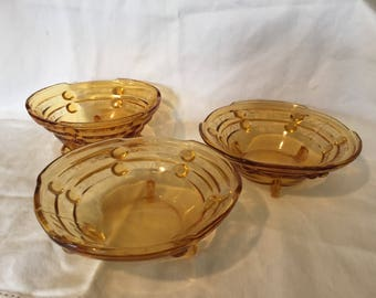 Amber Brown Glass Bowls - set of 3
