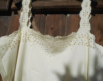 Victorian Off White Dress Cut Work Lace Monogrammed French 1900's Cotton Slip Handmade Large #sophieladydeparis