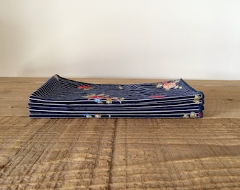 Set of 4 Navy Pinstripe Floral Nakins