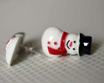 Cute Snowman Stud Earrings