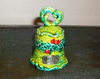 Holly Green Bell  HollyDay Vintage Ceramic Bell  Napcoware    Free Shipping in USA