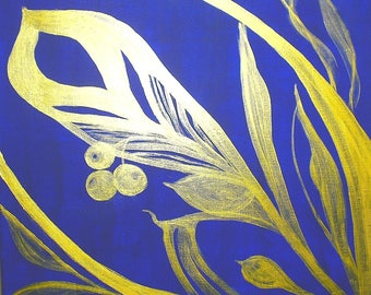 Paint - table decor abstract flowers - pattern gold on blue Ultramarine - OOAK - acrylic on canvas