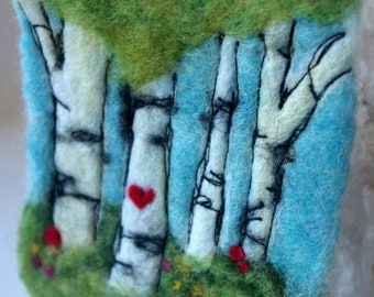 "Woodland Miniature Fiber Art: Felted Wool Original Work (2.25 x 3.5"", Small Format Woodland Art), Waldorf Needlefelted Picture"