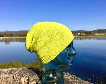 Bright Green Wool Slouchy Knit Hat