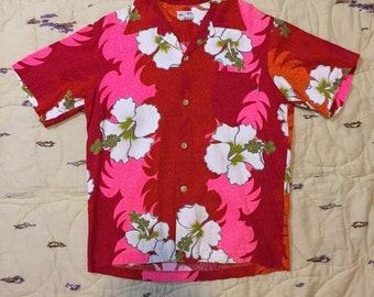 Vibrant 1970s Barkcloth Hawaiian Shirt