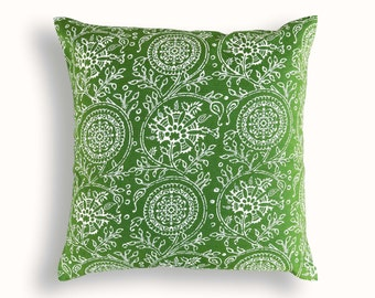 Green throw pillow cover, Kalamkari print, Indian ethnic, cotton pillow, sizes available.