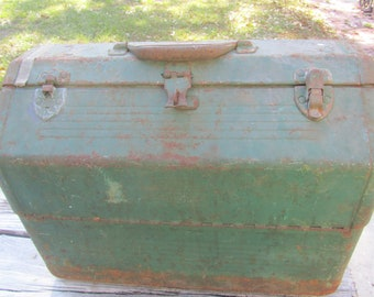 Vintage metal tool box, Green metal box, Fishing box, Tackle Box, Simonsen Metal Products Co., Type 11 Class 1 Size 2, Made in USA, Military