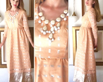 Vintage Coral Pink Party Dress with Silver Embroidery - Free Ship