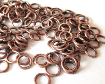 Open Jumprings - Antique Copper Jump Rings - 8mm- 19g. 100 Pcs approx - 18 guage - Copper Metal  Round Rings - DIY Jewelry Findings Supplies