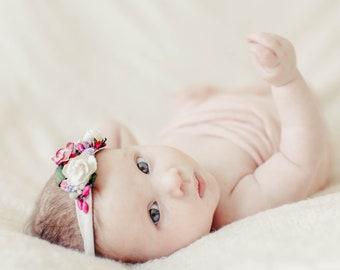 Ella, Baby Headband, Newborn Photo Prop, Baby Girl Headband, Newborn Headband, Headband, Flower Headband, Newborn Props, Baby Headbands