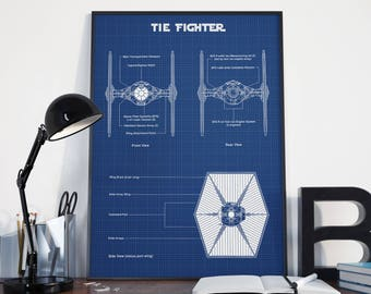 Tie fighter wall art | Etsy on tie phantom, y-wing schematic, tie advanced,