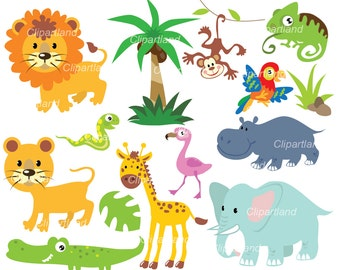 INSTANT Download. Jungle animals clip art. Ca_15. Personal and commercial use.