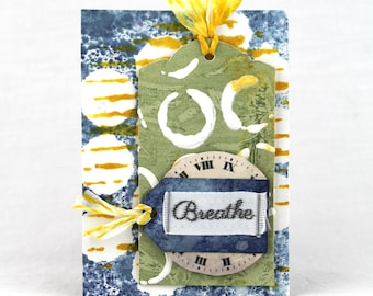 Mixed media ACEO ATC, mixed media art card, artist trading card, gift for her, gift for him, encouragement inspiration, free US shipping
