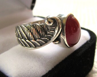 Sterling Silver Angel Wing Ring with 12x10mm Carnelian Cabochon
