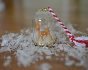 Tiny Deer Snow Globe Ornament, Christmas, Holidays