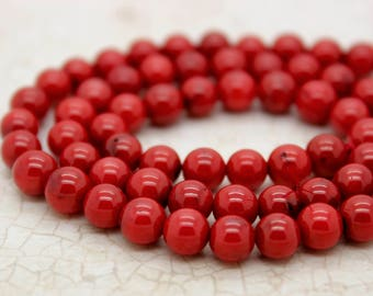 Red Coral Smooth Round Beads Natural Stone Gemstone (4mm 6mm 8mm 10mm)