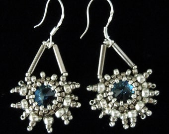 Snowflake Earrings, Silver Earrings, Evening Jewelry, Seed Bead Earrings, Crystal Earrings, Bridal Earrings,