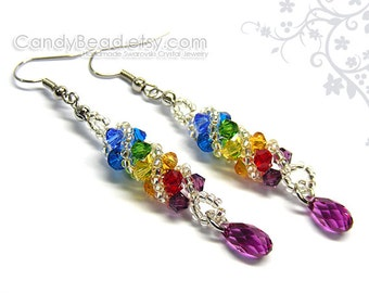 Swarovski earrings;crystal earrings;Swarovski Crystal Earrings, Rainbow Twisty Swarovski Crystal by CandyBead