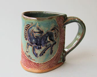 Horse Pottery Mug Coffee Cup Handmade Stoneware Tableware Microwave and Dishwasher Safe