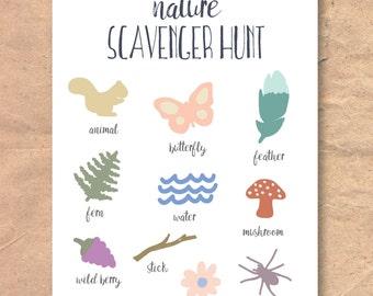 Instant Download Printable Nature Walk Scavenger Hunt