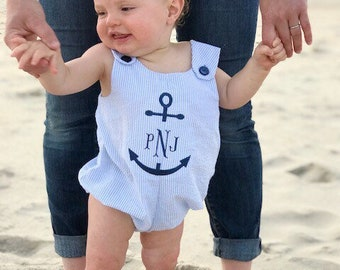 fishtail monogram navy anchor blue seersucker monogram bubble romper / nautical monogram jon jon shortall sunsuit/ beach photos
