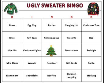 ugly sweater party bingo game 30 cards christmas holiday bingo words very fun for all ages print and play