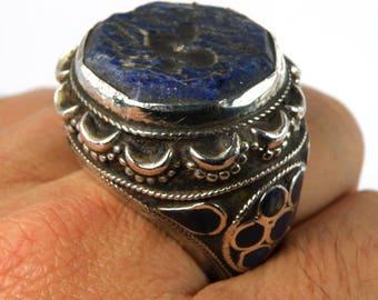 Unique Afghan Lapis Lazuli Intaglio Hart Silver Ring Size 8 Us RS889