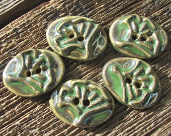 Ginkgo Leaf Button, Ceramic Ginkgo Leaf, Leaf Button, Ceramic Buttons, Green Buttons, Clay Buttons, Clay Leaf Buttons, Handmade Buttons