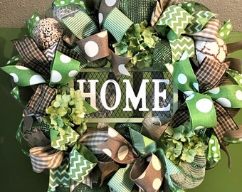 Home Wreath, Burlap Wreath