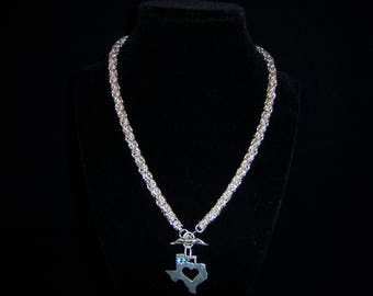 Sterling Silver Byzantine Necklace with a Texas and Longhorn Pendant