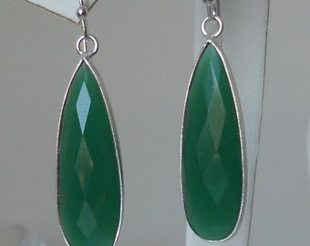Green Onyx Bezel Teardrop Pendant Earrings