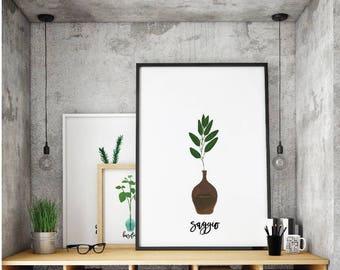 Italian herbs print bundle, kitchen Art Printable, Digital Download, Basil, Sage, Rosemary, Thyme