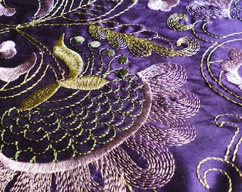"""Silk Obi belt """"Violet silk"""" - Violet silk obi belt with gold and mallow embroidery- Wrap belt for a wedding outfit - without visible seams"""