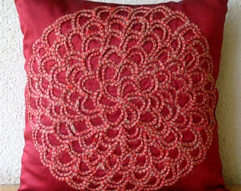 "Luxury  Jute Flower Medallion Floral Theme Pillows Cover, Deep Red Pillows Cover Silk Pillowcase, Square  20""x20"" - Blossoming"