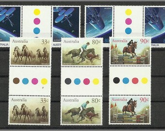 Australian postage stamps, unused from 1986 in blocks of two
