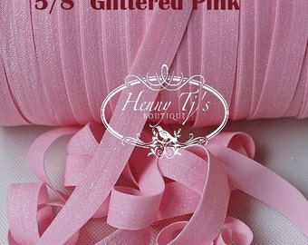 """5/8"""" Frosted GLITTER PINK Stretch Elastic Band Trim, foe Fold Over Elastic, DIY Hair Accessories -Elastic Hair Ties Headband Supplies"""