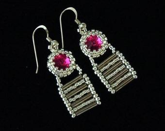 Sterling Silver Earrings, Seed Bead Earrings, Fuchsia Earrings, Bridal Earrings, Wedding Earrings, Drop Earrings