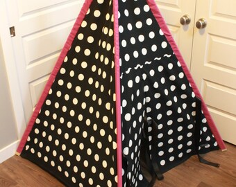 Toddler Teepee - Play Tent - Black & White Polka Dot with pink pole sleeves