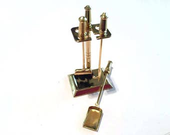 Miniature Brass Fireplace Accessories Dollhouse Miniatures 1:12 Scale Cake Topper Diorama Shadow Box - 313