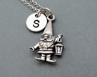 Gnome necklace, Garden Gnome charm, Gnome with Lantern, personalized lantern, antique silver, initial necklace, personalized, monogram