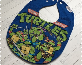 Teenage Mutant Ninja Turtles Baby Bib, TMNT Recycled T-Shirt Baby Bib, Baby Boy Baby Shower Gift