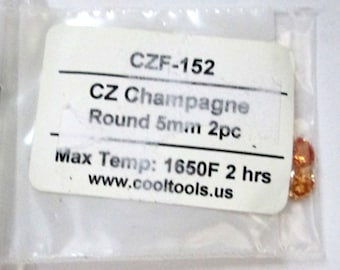 CZ - Champagne - Round 5mm - Pkg - 2, Metal Clay supply, Silver, Bronze, Copper Metal Clay, Jewelry