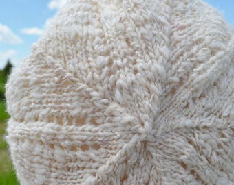 Puffball Hat Knitting Pattern PDF - Hand Knitting Pattern Download for Slouchy Beret Tam Style Hat